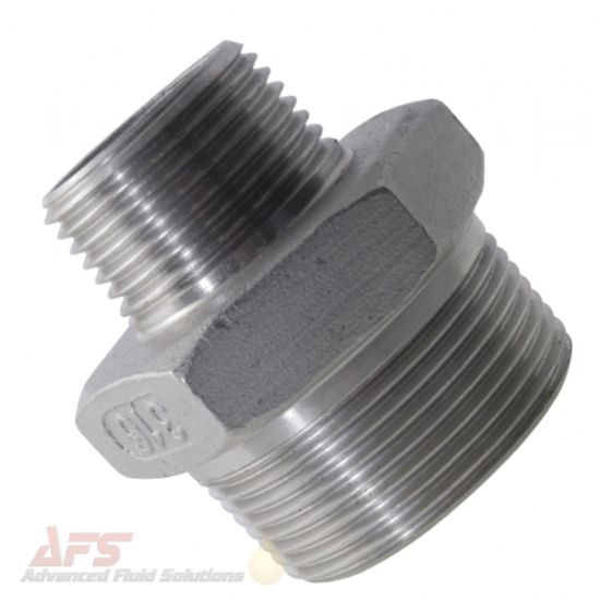 316 SS Stainless Steel Reducing Hex Nipple BSPT Male Threads